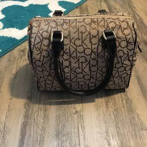 NEW Calvin Klein brown and khaki satchel